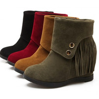 Womens Stylish Fringe Desert Wedge Boots