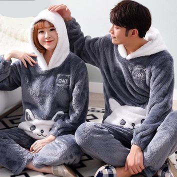 Winter Men Pajamas Women Pajamas Set Female Long-Sleeve Coral Fleece Thickening Sleepwear Pullover Indoor Clothing