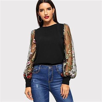 COLROVIE Black Embroidered Floral Sheer Mesh Casual Blouse Womens 2019 Spring Long Sleeve Elegant Shirt Ladies Tops And Blouses