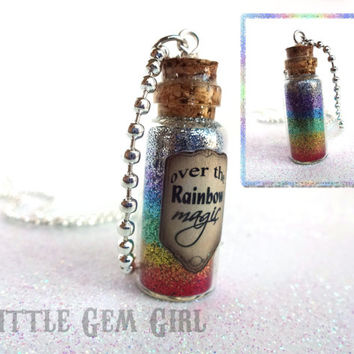 SALE - Wizard of Oz Somewhere Over the Rainbow Bottle Necklace - Going Away Gift Ruby Red Slippers Magic Potion Bottle Necklace