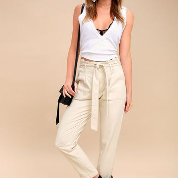 Leo Light Beige Tie-Waist Cropped Pants