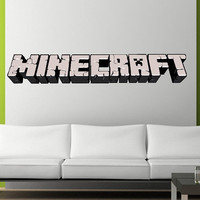 3 Feet Wide HANDMADE Reusable Minecraft LOGO Wall Decal - Made to order