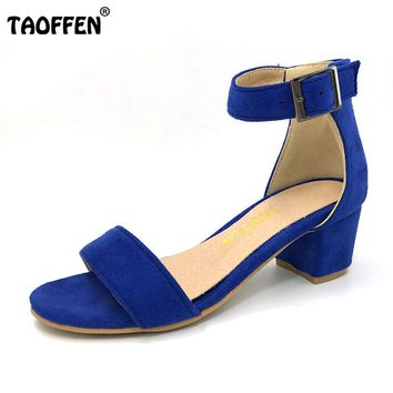 TAOFFEN Women High Heel Sandals Women Open Peep Toe Shoes Womens Lady Suede Leather High Quality Brand Shoes Size 34-43 PA00633