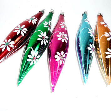 Vintage Christmas Ornaments Icicle Teardrop Mercury Glass Set of 5 Hand Painted Red Green Blue Pink Gold