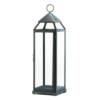 Iron Brushed Silver Extra Tall 25 Inch Candle Holder Lantern