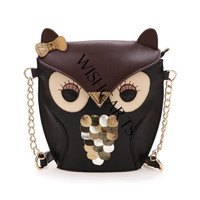 Women's PU Leather Splicing Color Cross Body Bag Owl Pattern (Color: Brown) = 1652213700