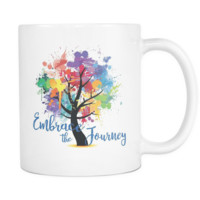 EMBRACE THE JOURNEY - Abstract Tree of Life * White 11 oz. Coffee Mug