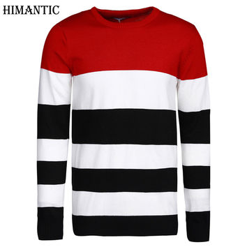 Men Sweater Casual O-Neck Striped Slim Fit Knitting Men Sweaters And Pullover Men pull home Clothing