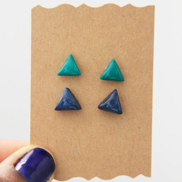geometric triangle earrings, stud earrings, nickel free jewelry, polymer clay jewelry
