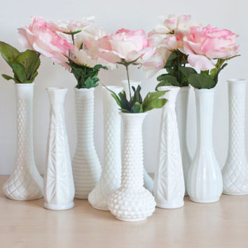 Instant Collection 10 Milk Glass Vases for Wedding Tablescapes, Baby Shower Decor, Cottage Chic Vintage Centerpieces