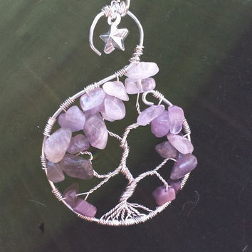 Starlight amethyst tree of life pendant necklace
