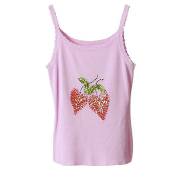 T026 90S VINTAGE Strawberry Sequin Cami