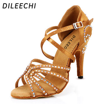 DILEECHI female Bronze red satin Latin dance shoes women's Rhinestones Salsa party Wedding shoes10cm high heeled soft outsole