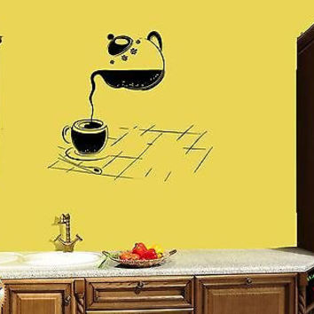 Wall Sticker For Kitchen Cup Of Tea Cup of Coffee Modern Decor z1411