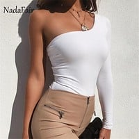 Nadafair sexy black bodysuits one shoulder solid rompers women jumpsuit 2018 new autumn long sleeve casual bodysuits women tops