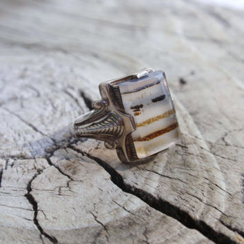 Art Deco Moss Agate Ostby Barton Sterling Ring antique vintage dendritic lines montana landscape   10% OFF coupon in item detail