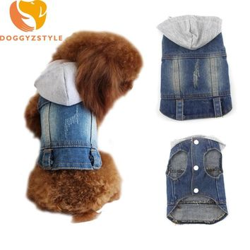Jean Dog Hoodies Vest Summer Pet Clothes Puppies Cat Denim Personalized Jacket Teddy Chihuahua Casual Apparel DOGGYZSTYLE
