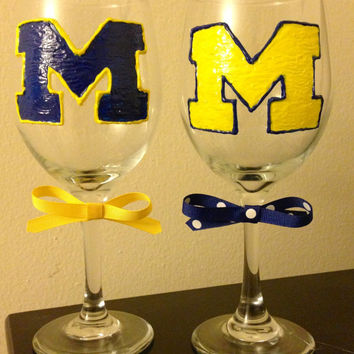 University of Michigan Handpainted Wine by BlairBearDesigns