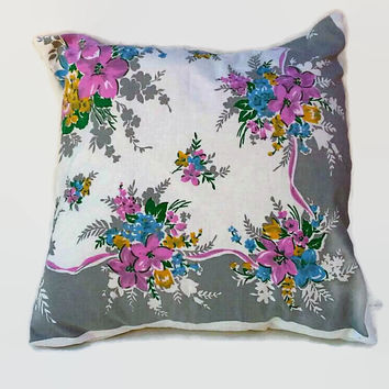 Flowered Cottage Chic Throw Pillow Cover 20 Inch Square Upcycled from Shabby Tablecloth 20 X 20