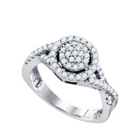 Diamond Ladies Fashion Ring in 10k White Gold 0.54 ctw