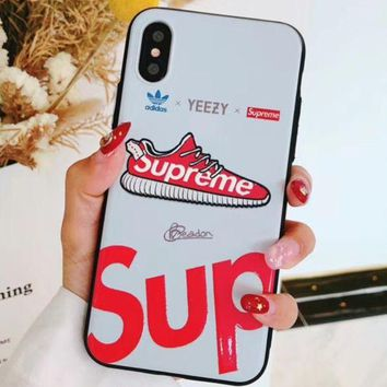 ADIDAS & YEEZY &SUPREME Tide brand IPHONEX phone case matte embossed for men and women GUCCI/WHITE