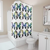 Aqua, Pink, and Yellow - Elegant Butterflies Shower Curtain