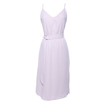BELTED CREPE SLIP MIDI DRESS