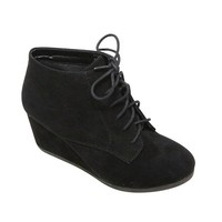 Brenda-11 Women's high top lace up rounded toe platform wedge suede booties