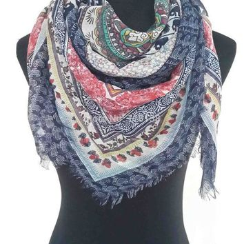 CREYU3C Fashion Elephant Paisley Floral Print Large Square Scarf Wrap Frayed Edges Boho Style