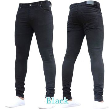 Men Jeans Pants 2018 Brand New Stretch Skinny Ripped Biker Jeans Men Hip Hop Casual Denim Trousers Mens Black Jeans Hombre XXXL
