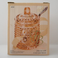 Peach Ballad Lidded Jam Jar w/Spoon Indiana Glass NOS Northland Stainless c 1980s