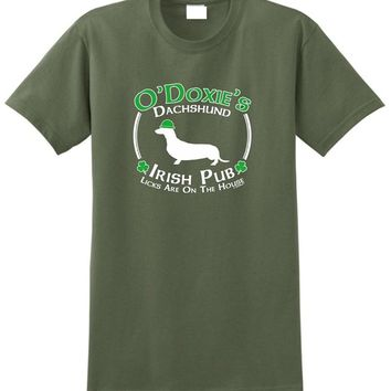 Dachshund Doxie Irish Pub Dog T-Shirts - Men's Top Tee
