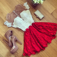 Summer Red Short Dresses Sexy Women Lace Dress Patchwork Female Girl