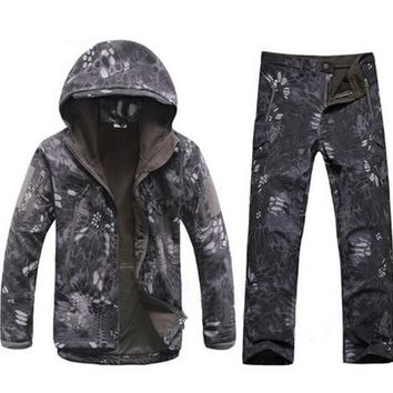 New Army Hiking Tactical Kryptek Black Shark Skin TAD 4.0 Jacket+Pants Uniform Men Waterproof Coat Outdoor Hunting Clothing