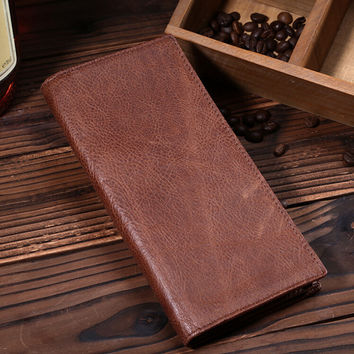 fashion retro genuine leather long wallet handmade card hold purse gift 10