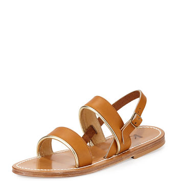Barigoule Double-Band Sandal, Tan/Gold - K. Jacques