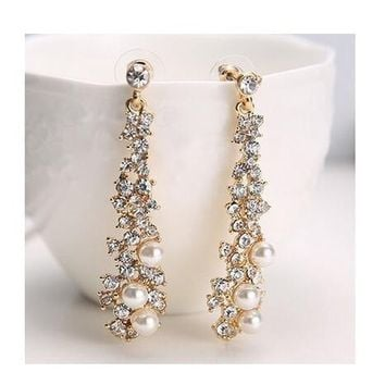 Crystal Pearl Rhinestone Dangle Chandelier Earrings