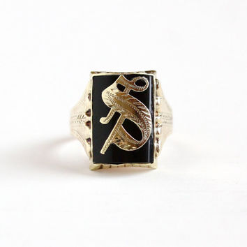 Vintage 14k Yellow Gold Initial Letter S Signet Ring - Edwardian 1910s Size 10 Black Simulated Onyx Glass Men's Statement Monogram Jewelry