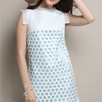 Mesh Embroidered Cut-Out Sleeveless A-Line Mini Dress