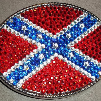 Ole Miss Inspired Rebel Flag Crystal Rhinestone Large Oval Belt Buckle