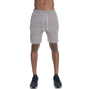 Haru Drop Crotch Fleece Shorts (Beige)