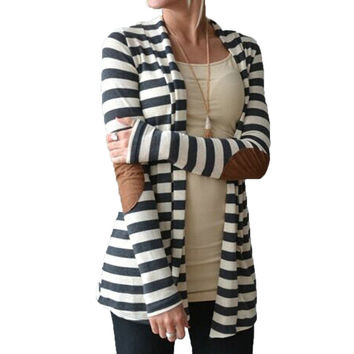 Grey & White Striped Cardigan Patching PU Leather Long Sleeve Knitted Cardigan Fall 2016 Spring Autumn Women Sweater Top5071