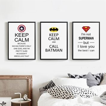 Batman Dark Knight gift Christmas Scandinavian Super Hero Batman Superman Inspirational Phrases Canvas Painting Print Pictures Poster Wall Art Boy Room Home Decor AT_71_6
