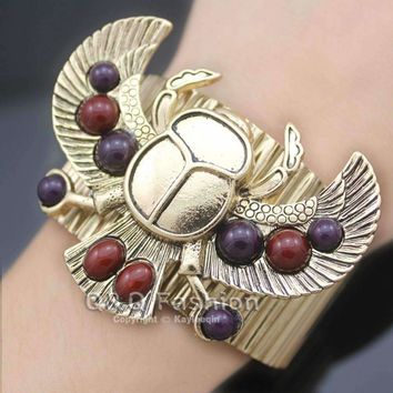 Egyptian Revival khepri Scarab Beetle Beadsa Wing Big Bracelet For Women