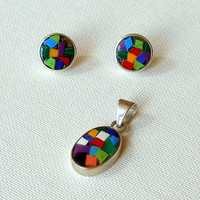 Earrings & Pendant Vintage Jewelry Demi Parure 925 Silver Colorful Glass Inlaid