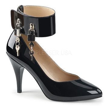 "Dream 432 Black Patent Ankle Cuff With Lock & Keys - 4"" Heels"
