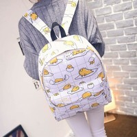 Free shipping Cartoon Gudetama Cute Fried Eggs Funny White Backpack School ShoulderBags super quality Lazy Egg Printed Backpack