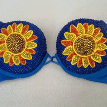 Sunflower Light Up Bra (Acrylic Crystal Version)