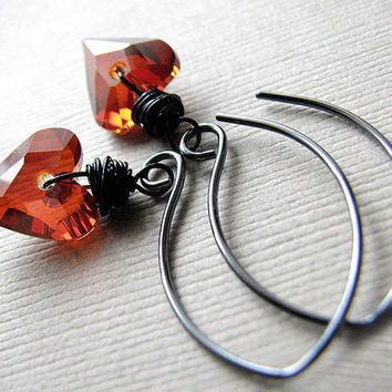 Crystal Dangle Earrings, Red Magma Swarovski Hearts, Twilight Inspired Jewelry, Oxidized Sterling Silver