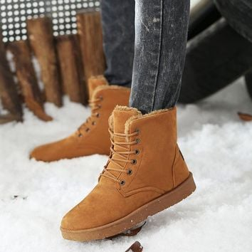 Winter Men Retro Tooling Casual Leather Fur Vintage Snow Warm Martin Ankle Boots